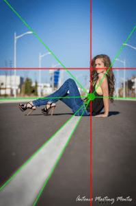 Las lineas guian la mirada hacia la modelo, también en los tercios